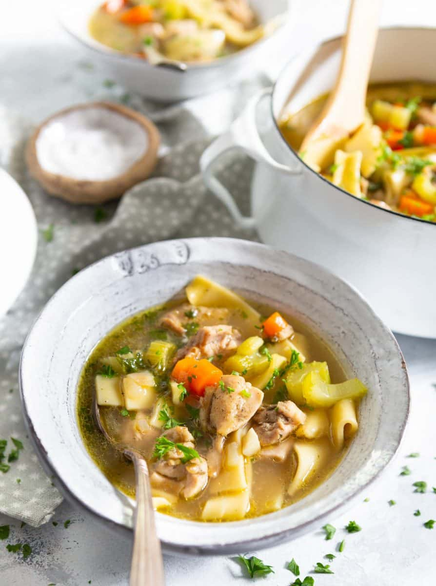 Chicken noodle soup isn't just for when you're sick. It's a classic and can be made for any time of year and for whatever reason it is that you are craving chicken noodle soup! Perhaps you are just nostalgic for mom's cooking!