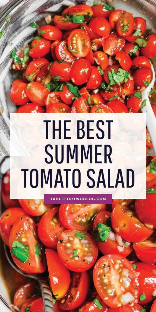 This is the best summer tomato salad! With a short ingredient list, this fresh salad will have you making it all summer long! #tomato #tomatosalad #summersalad #freshingredients