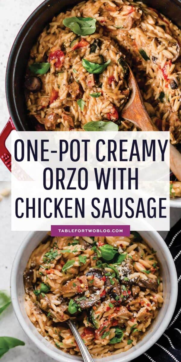 This creamy orzo with chicken sausage dish is an easy 30-minute weeknight meal that is fully customizable to your palate! #onepot #creamyorzo #orzo #pasta #easypasta #pastarecipe #chickensausage #easydinner #dinnerrecipe
