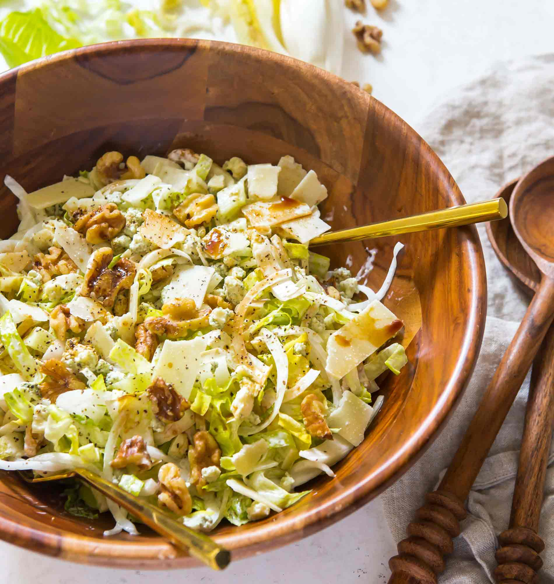 Inspired by my trip to Southern France, this incredibly refreshing chopped endive and romaine salad will be one of your new favorite salads to make! You'll love all the flavors and textures of this salad! #endive #romaine #choppedsalad #saladrecipe #refreshingsalad