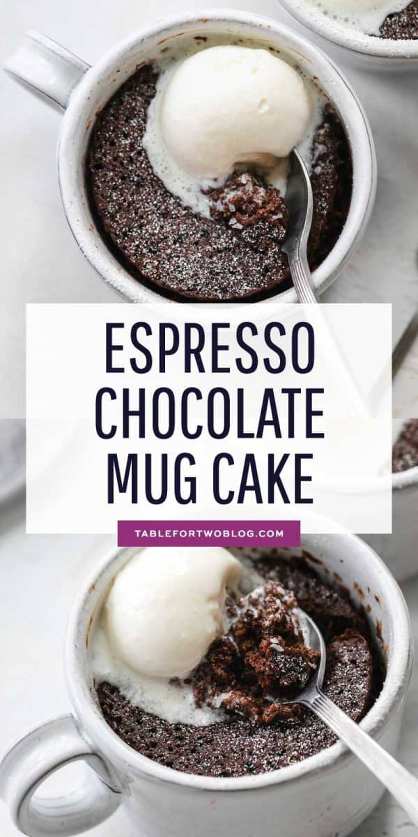 For all coffee and chocolate lovers out there, this espresso chocolate mug is right up your alley! It's full of coffee and chocolate flavors! #mugcake # chocolate # microwave # cake #mugcakerecipe #cakerecipe #easydessert
