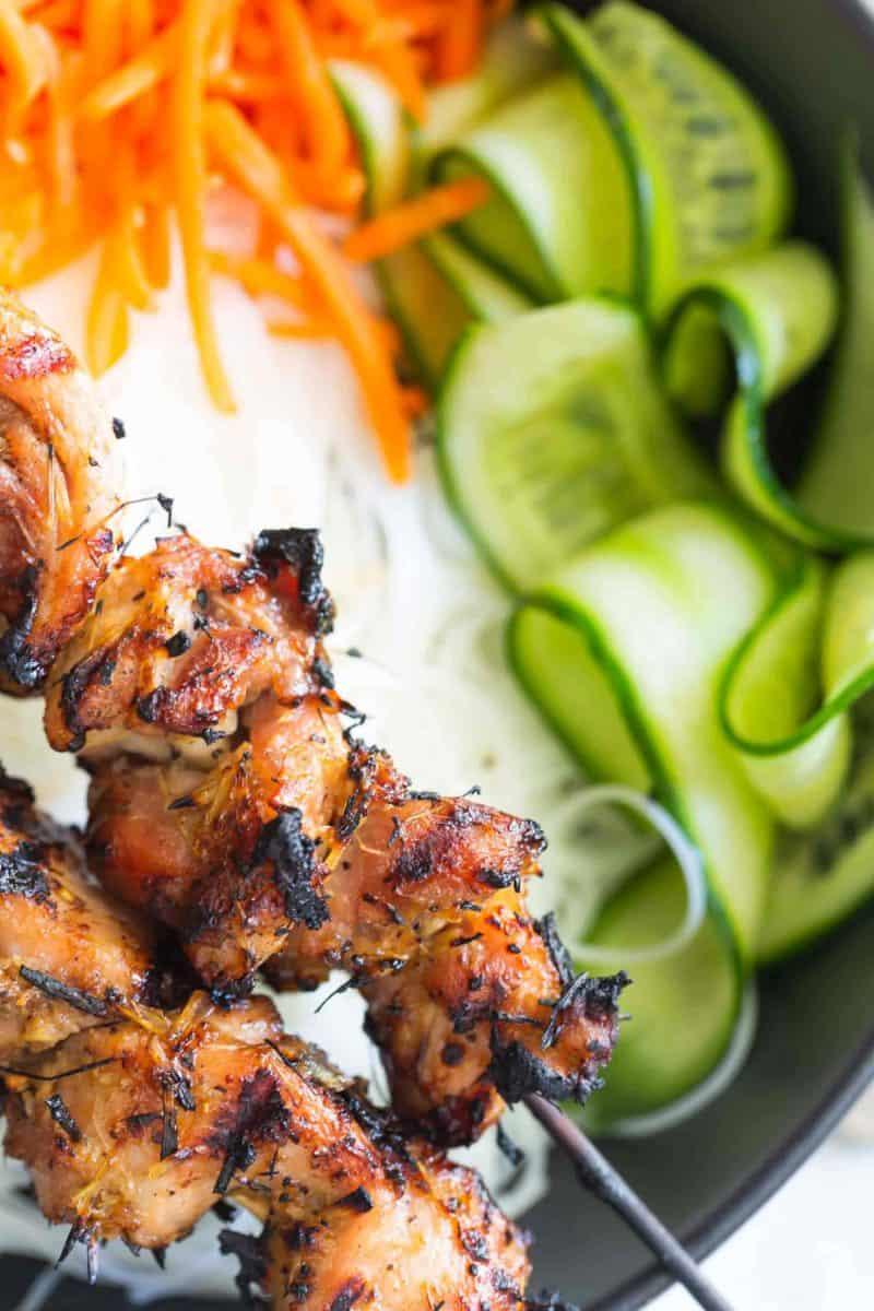 up close shot of lemongrass chicken