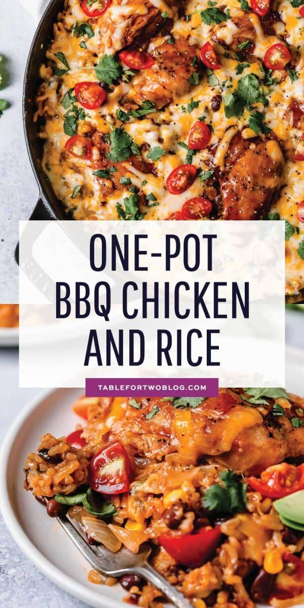 Weeknights are now made easier with this one-pot bbq chicken and rice dish that has loads of flavor and comes together super easily! #onepot #bbqchicken #chickenrecipe #chickendish #chicken #dinner #easydinner #easyrecipes #quickdinners #weeknightmeals