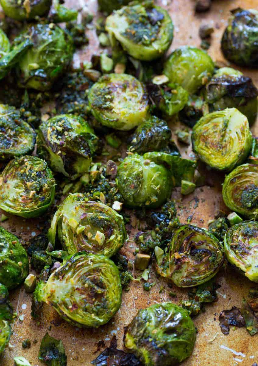 These roasted brussels sprouts tossed in pistachio pesto will turn any brussels sprouts hater into a lover!