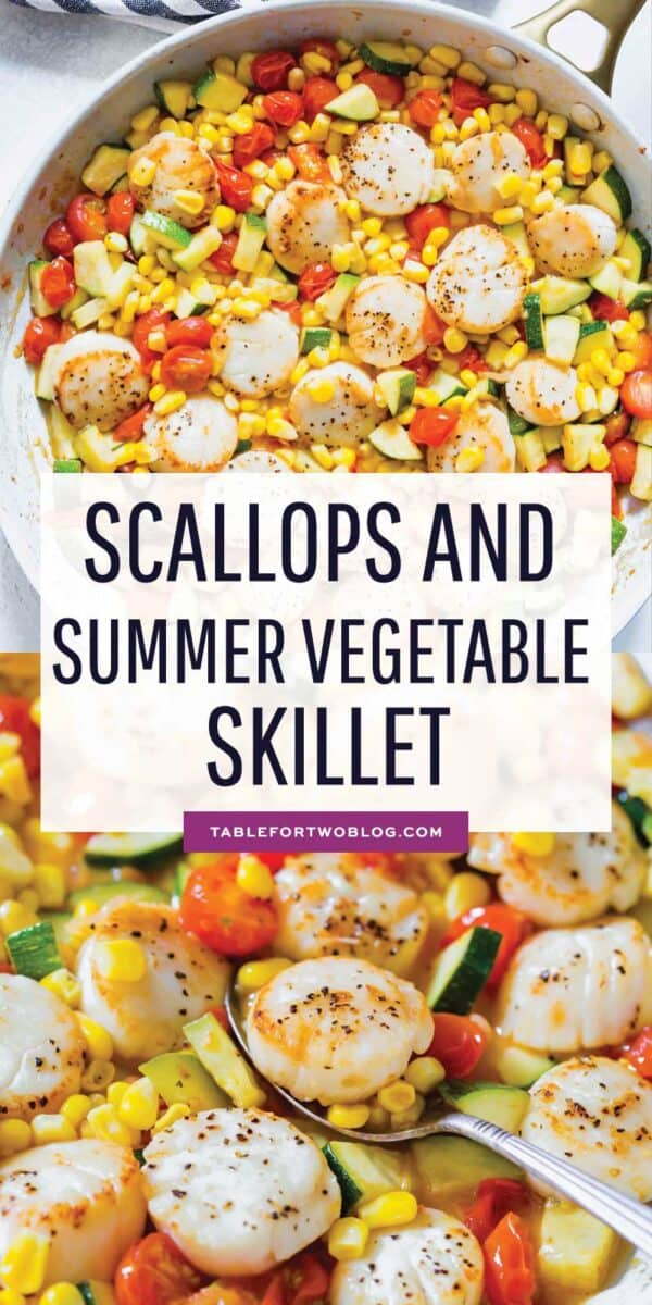 Scallops and summer vegetables make for a quick weeknight meal! Everything comes together super quickly and it's a light and refreshing meal option! #scallops #scalloprecipe #seafood #seafoodrecipe #summervegetable #vegetable #zucchini #corn #tomato