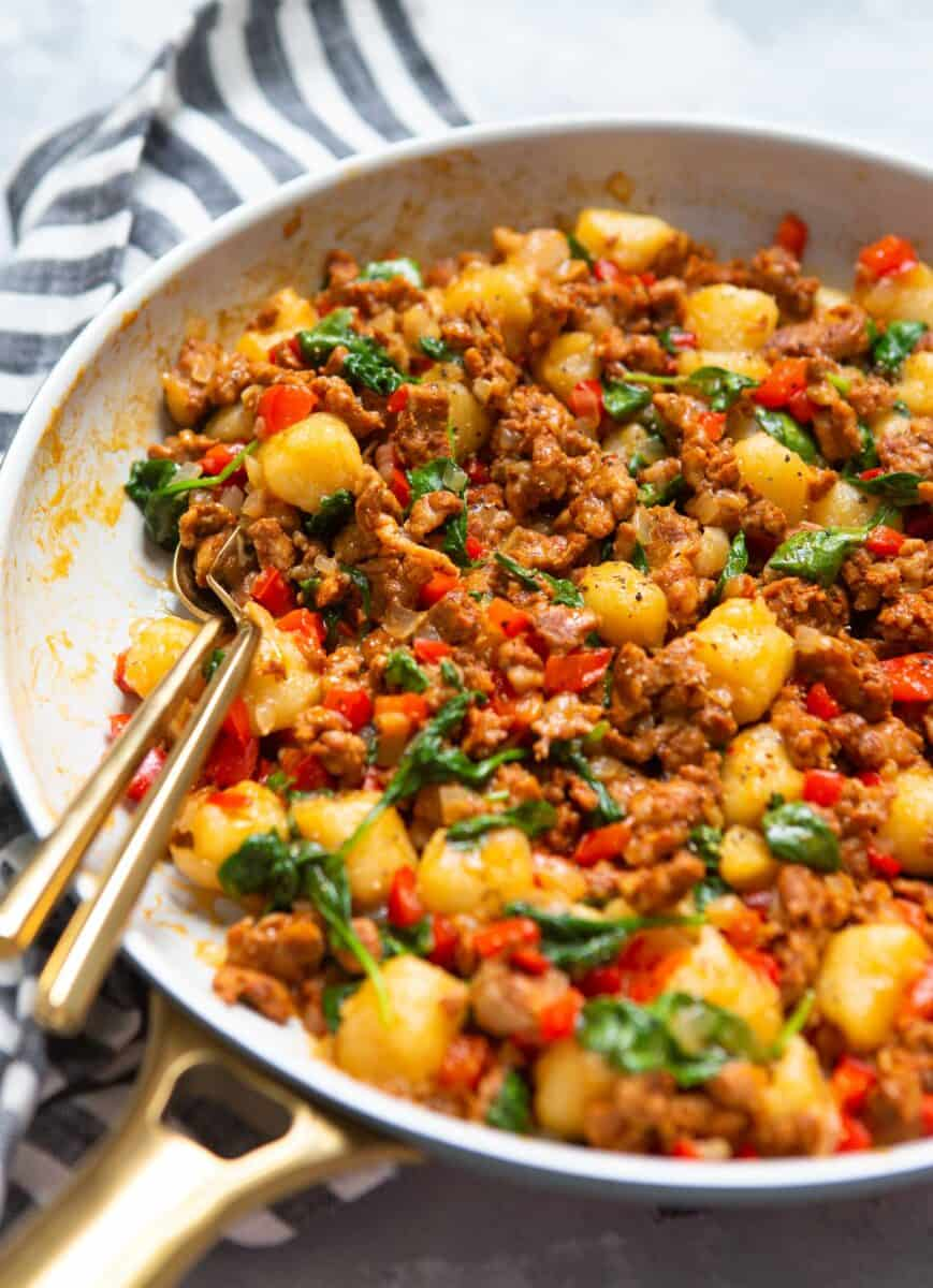 This chicken chorizo cauliflower gnocchi skillet is another great way to use cauliflower gnocchi in a quick weeknight dish!