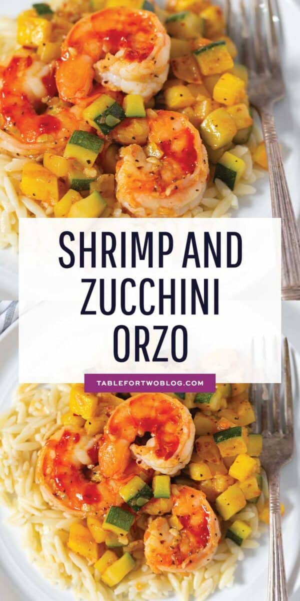 A quick and easy weeknight dinner that features shrimp, zucchini, and orzo! These ingredients are perfect together! #zucchini #shrimp #zucchinirecipes #shrimprecipes #seafood #seafoodlover #orzo #pasta #pastarecipes