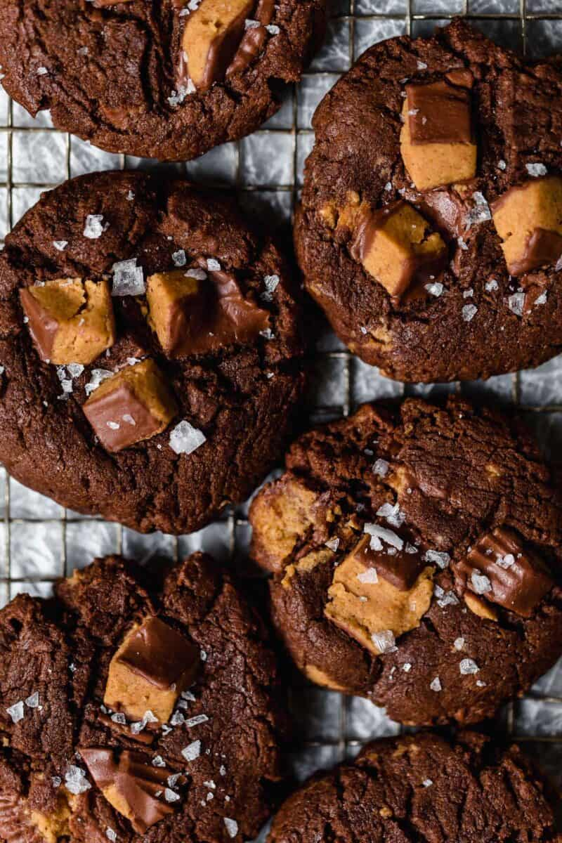 The best way to use up your extra Halloween candy or extra Reese's peanut butter cups is in these cookies!