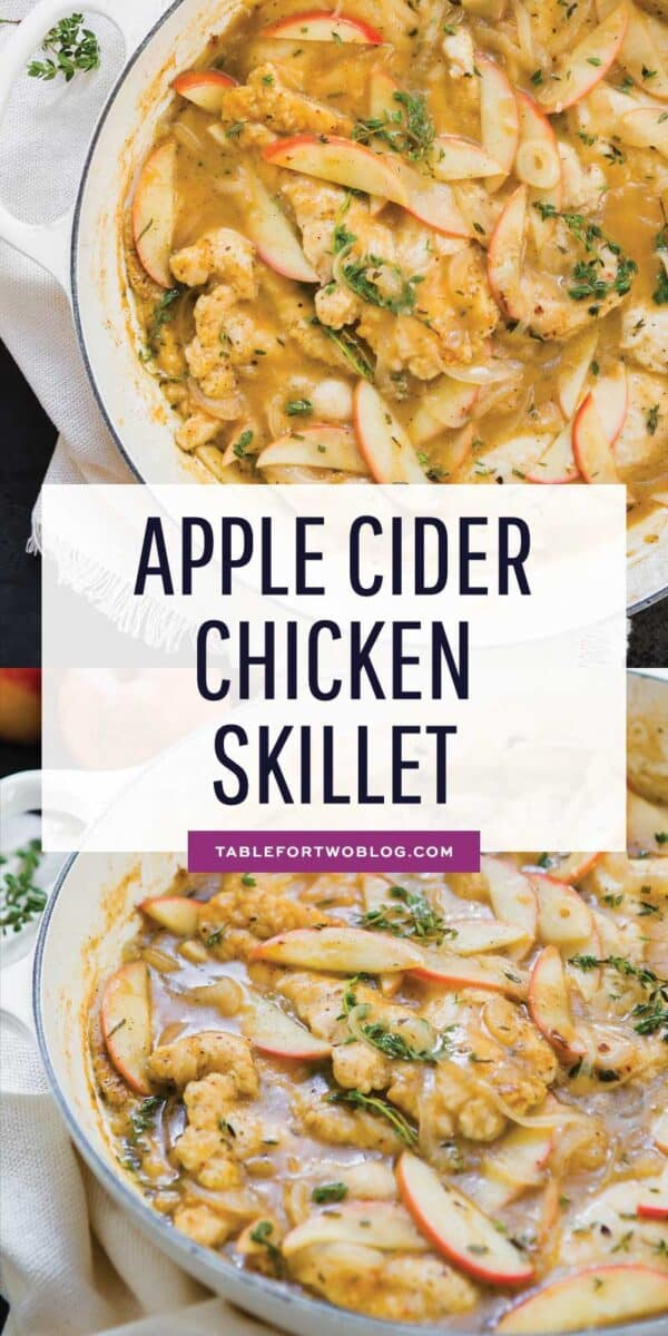This apple cider chicken skillet is the ultimate Fall dish that is full of sweet and savory flavors! You need to get this on the table! #sponsored #farmerfocus #organicchicken #chickenrecipe #chickenskillet #applecider #applerecipes