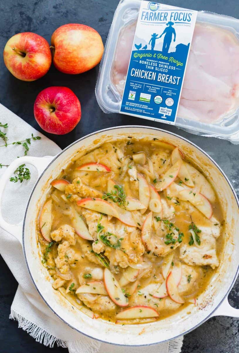 This apple cider chicken skillet is the ultimate Fall dish that is full of sweet and savory flavors! You need to get this on the table!