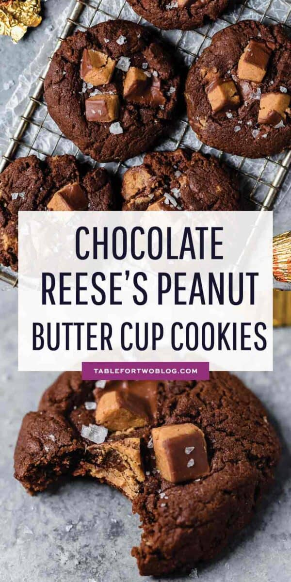 The best way to use up your extra Halloween candy or extra Reese's peanut butter cups is in these cookies! #cookies #cookierecipe #halloweencandy #reesescup #peanutbutterchocolate #cookielover