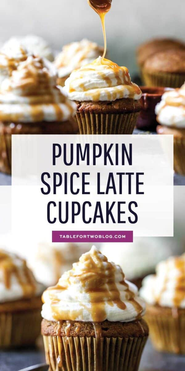 Pumpkin spice latte cupcakes are the drinks in cupcake form and they're so much better in cupcakes than in a cardboard cup! #pumpkinspice #pumpkinspicelatte #cupcakes #cupcakerecipe #PSL