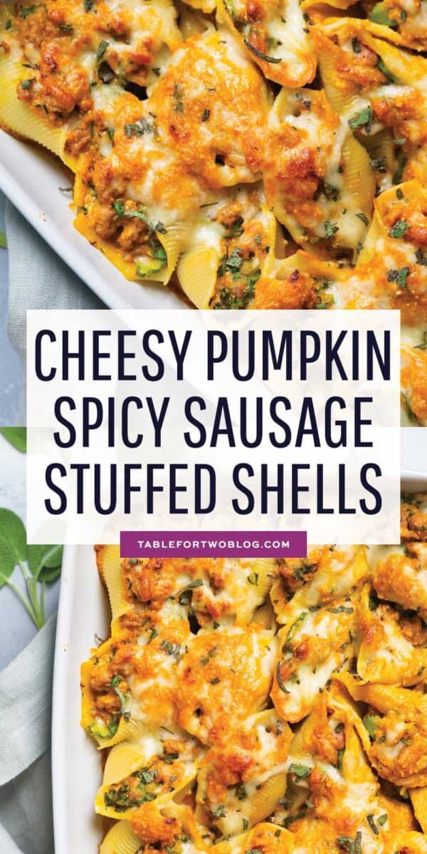 The ultimate Fall comfort dish made with a deliciously cheesy pumpkin sauce that includes Cabot Creamery Co-operative cheddars! The stuffed shells that are filled with all the flavors of Fall! #pumpkin #pumpkinrecipes #savorypumpkin #pumpkinpasta #stuffedshells #pastarecipe