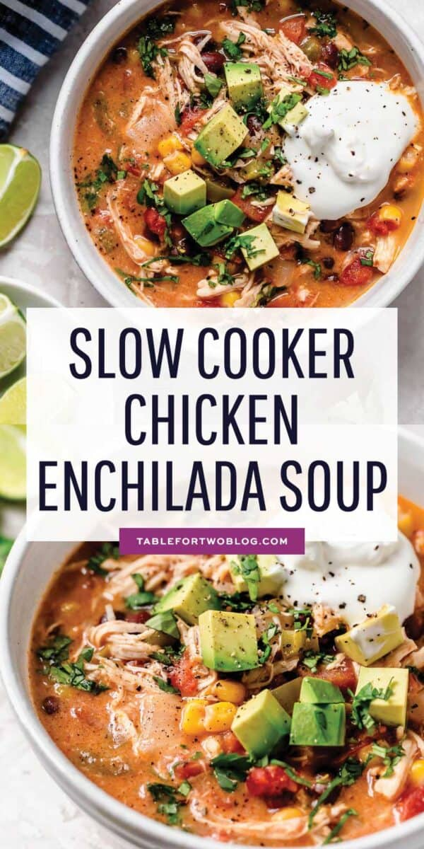 Slow cooker chicken enchilada soup is full of flavor and the perfect weeknight meal that takes no time at all to put together! #slowcooker #soup #soupseason #soupson #enchilada #chicken #chickenenchilada #slowcookerrecipes
