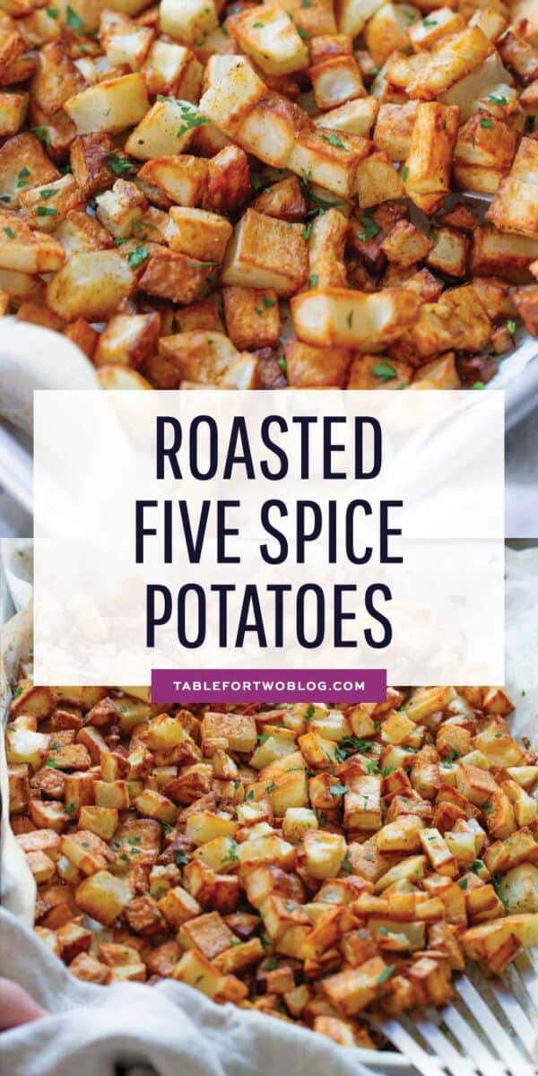 Roasted five spice potatoes are a flavorful twist on the classic roasted potatoes! You'll love this new flavor combination for roasted potatoes! #fivespice #chinesefivespice #roastedpotatoes #potatoes #potato #potatorecipe