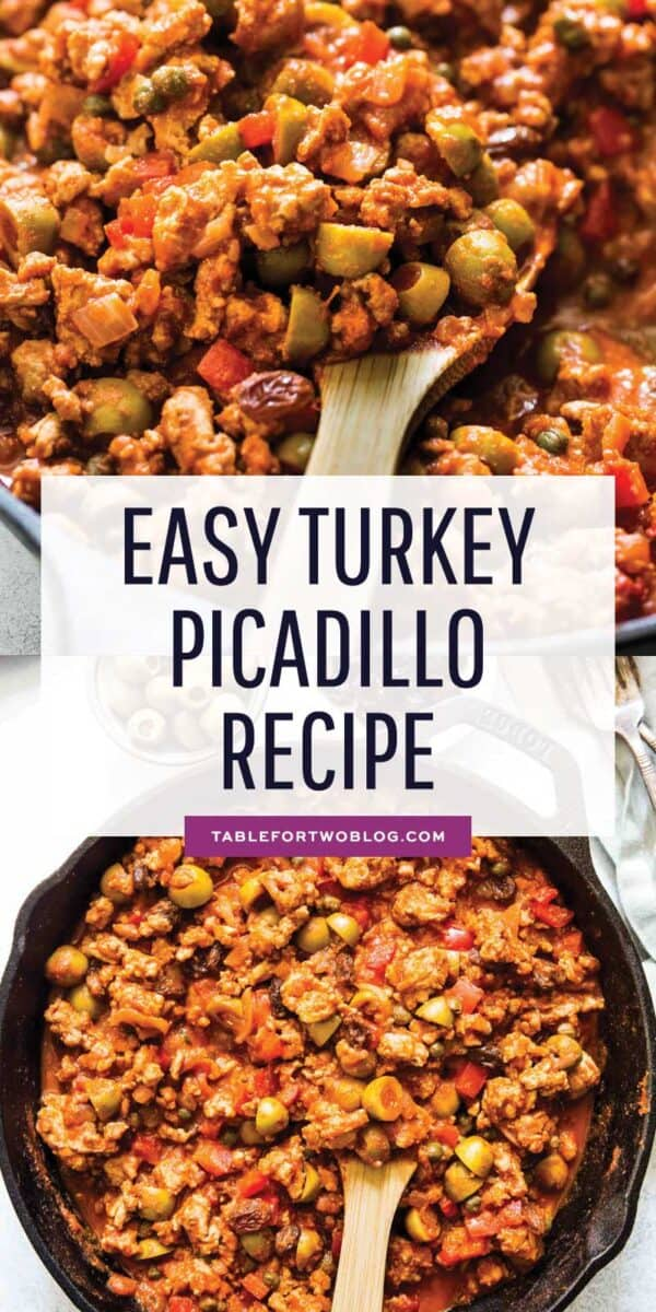 This turkey picadillo recipe is a quick and flavorful weeknight meal! Full of salty, briny, and sweet flavors! #turkey #turkeyrecipes #groundturkey #picadillo