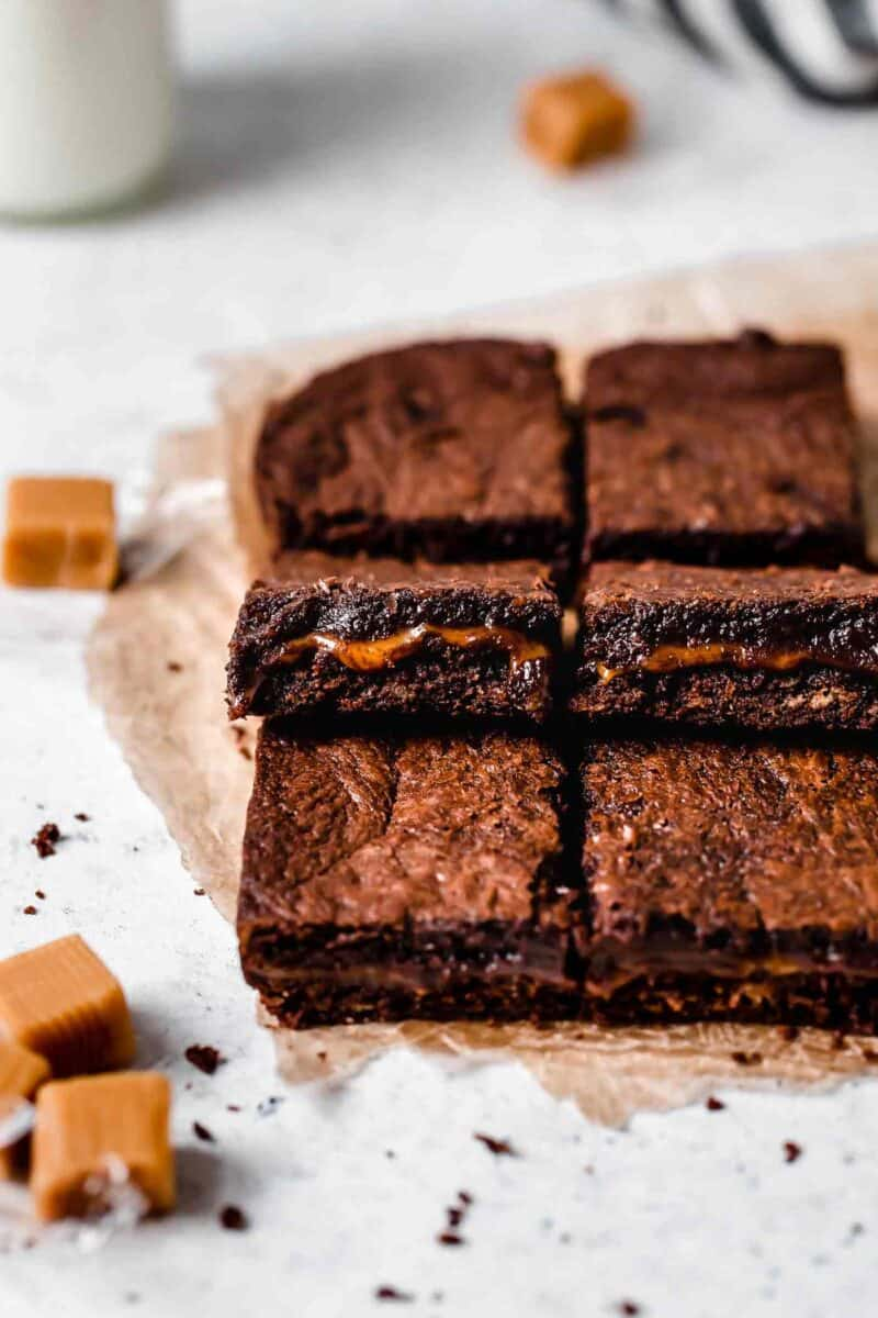 The most decadent brownie dessert there is! Caramel filled brownies are the golden child of all other brownie recipes!