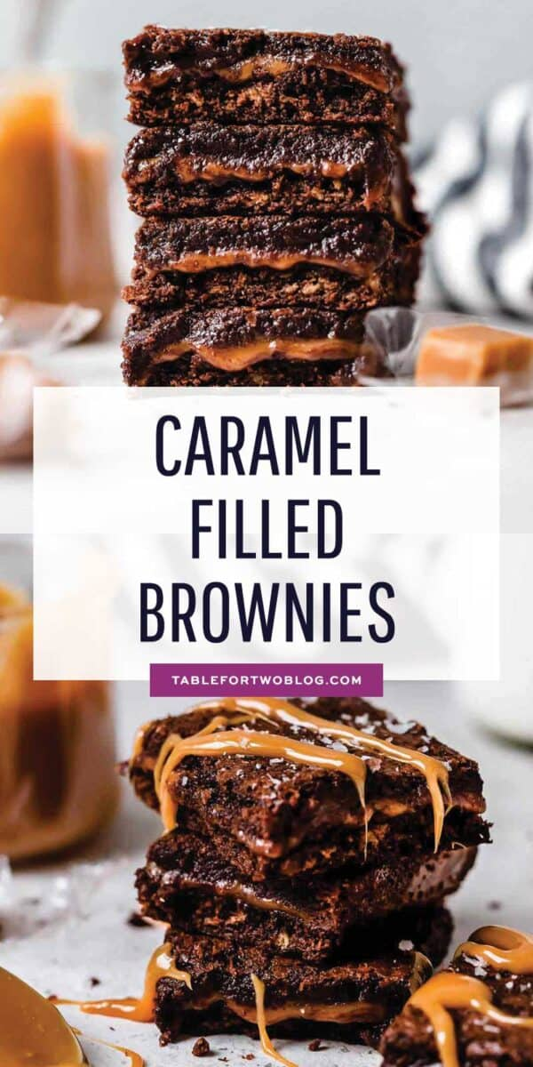 The most decadent brownie dessert there is! Caramel filled brownies are the golden child of all other brownie recipes! #brownierecipe #caramel #caramelbrownies #brownies #baking