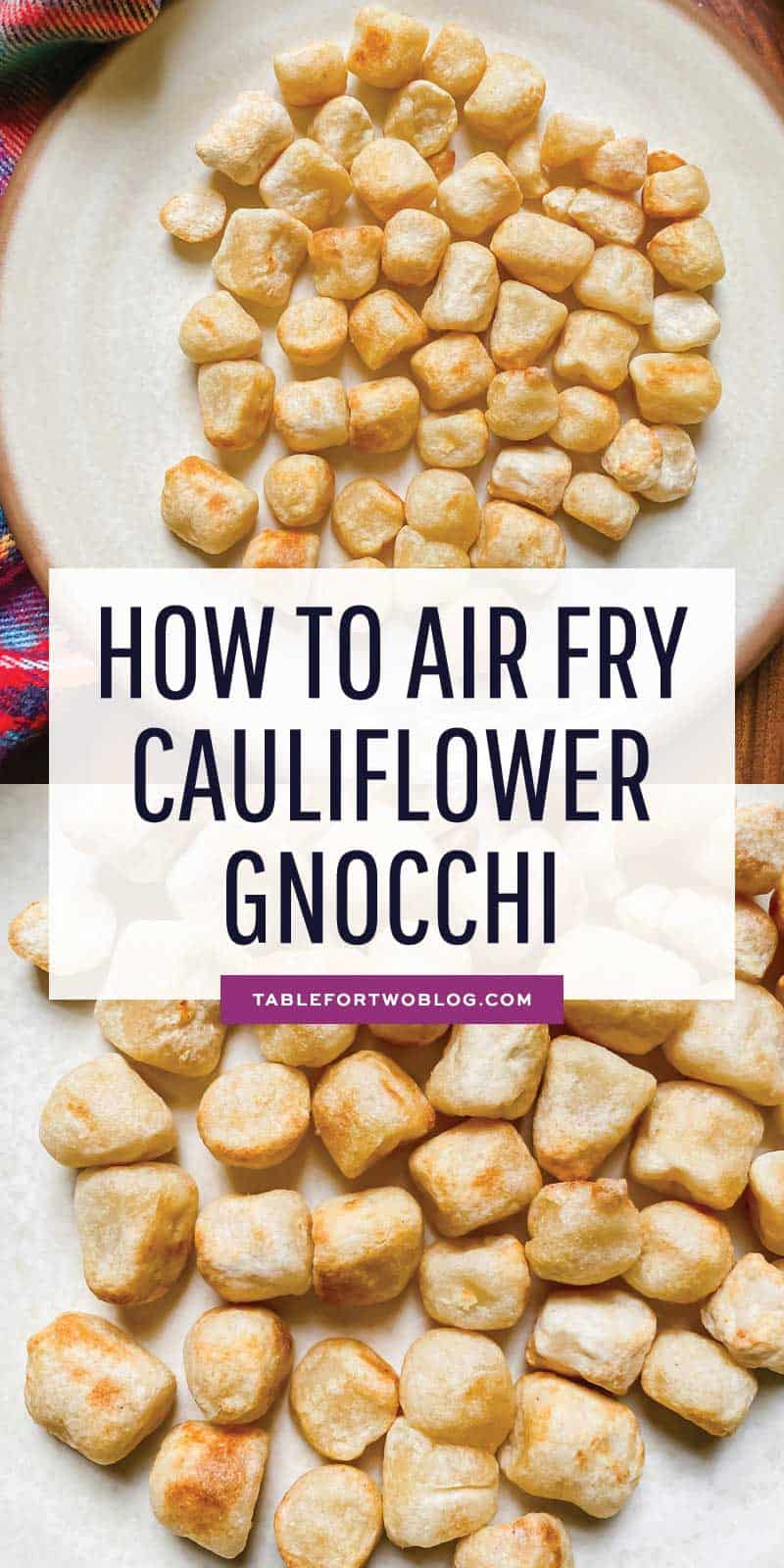 Air frying cauliflower gnocchi is a great way to get that crispy exterior and soft center! #airfryer #airfryerrecipe #cauliflowergnocchi