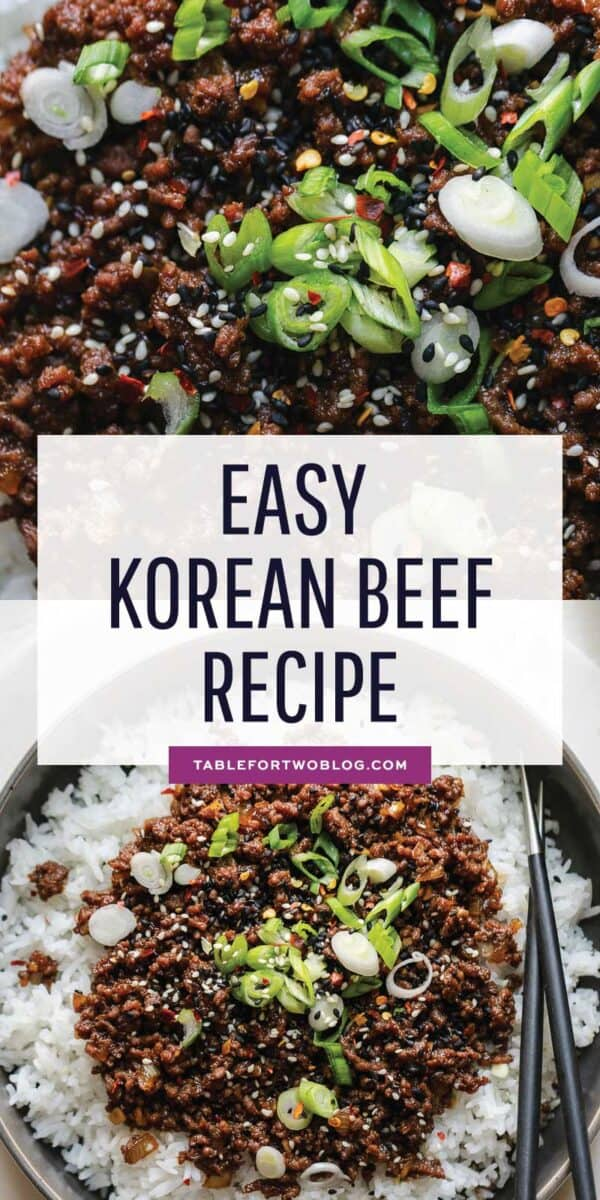 Korean beef is as simple as dinner gets! Comes together in less than 25 minutes and has so much amazing Asian flavor! #korean #beef #asian #recipe