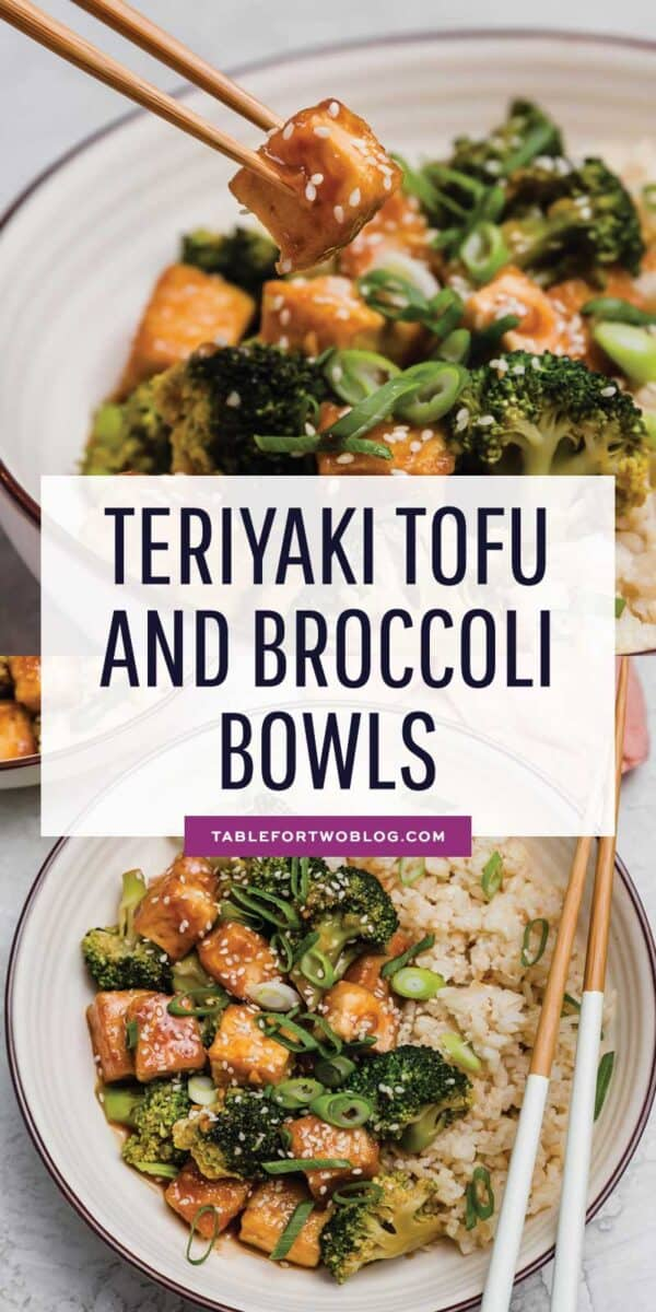 Teriyaki tofu and broccoli bowls are a great plant-based dinner idea for any night of the week! The flavors are bold and you won't miss the meat! #vegan #plantbased #veganrecipes #tofu #tofurecipes #teriyaki #broccoli #ricebowl