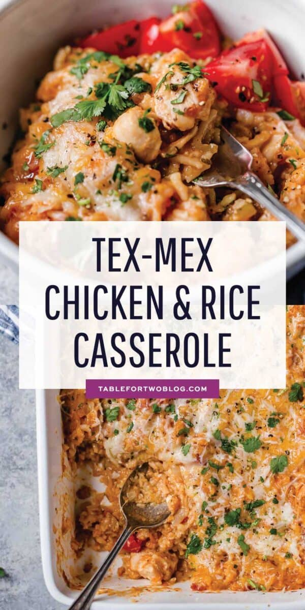 Bold flavors of Tex-Mex cuisine combined in this classic chicken and rice casserole make for an easy choice for weeknight dinner! #casserolerecipe #casseroles #onepot #chickenandrice #texmex