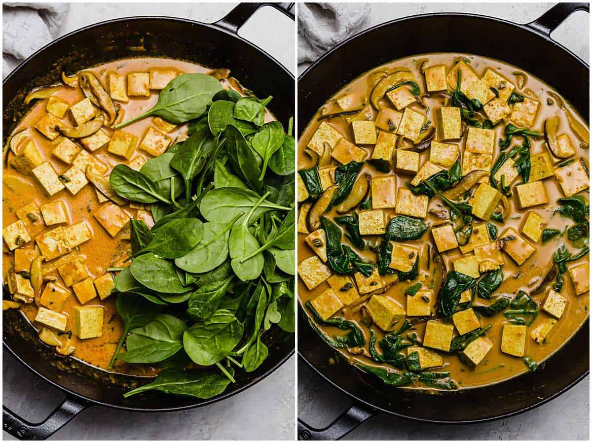 This tofu coconut curry bowl is simmered in a deliciously warm coconut curry sauce along with shiitake mushrooms. A plant-based dinner for any evening!