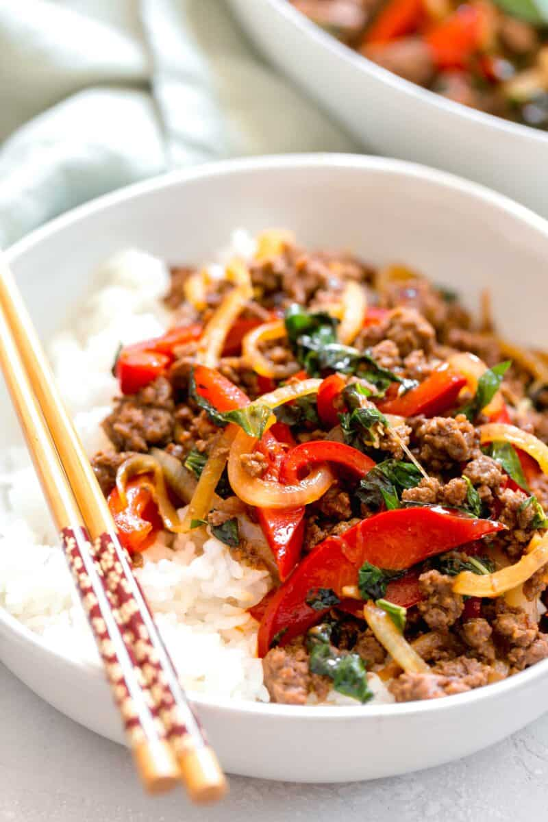 This basil beef stir fry is an explosion of Asian flavors and so incredibly easy to put together!