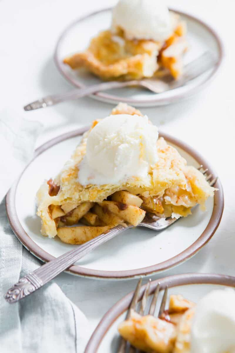 Rustic apple pie is the perfect, classic and traditional dessert that can be had year-round! Top your slice of apple pie with a giant scoop of vanilla ice cream!