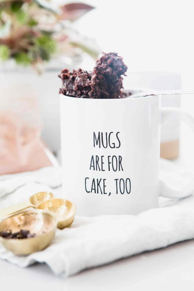 This chocolate mug cake recipe has no eggs and can be made for one or two (if you like to share). It is one of the easiest dessert recipes you'll ever make and you'll never make another mug cake again after you try my recipe!