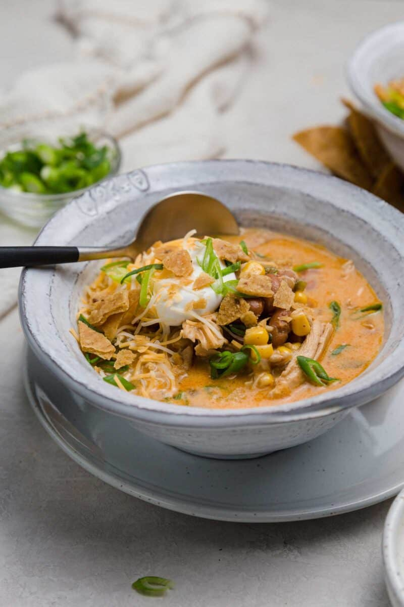 A delicious and cozy one-pot flavor bomb! This Southwest chicken chili offers comfort and just a touch of heat to warm you up!
