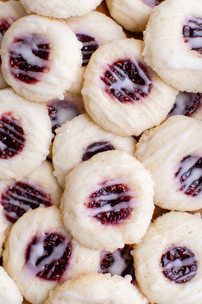 Beautiful raspberry thumbprint cookies are a classic and they can be filled with whatever jam or jelly you love!