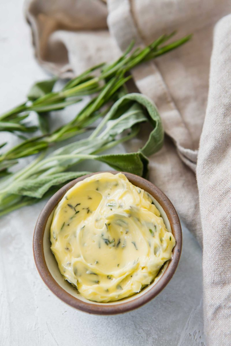 Herbed compound butter is a delicious way to amp up regular butter! Use it to make sauces, spread on toast, or elevate any protein!