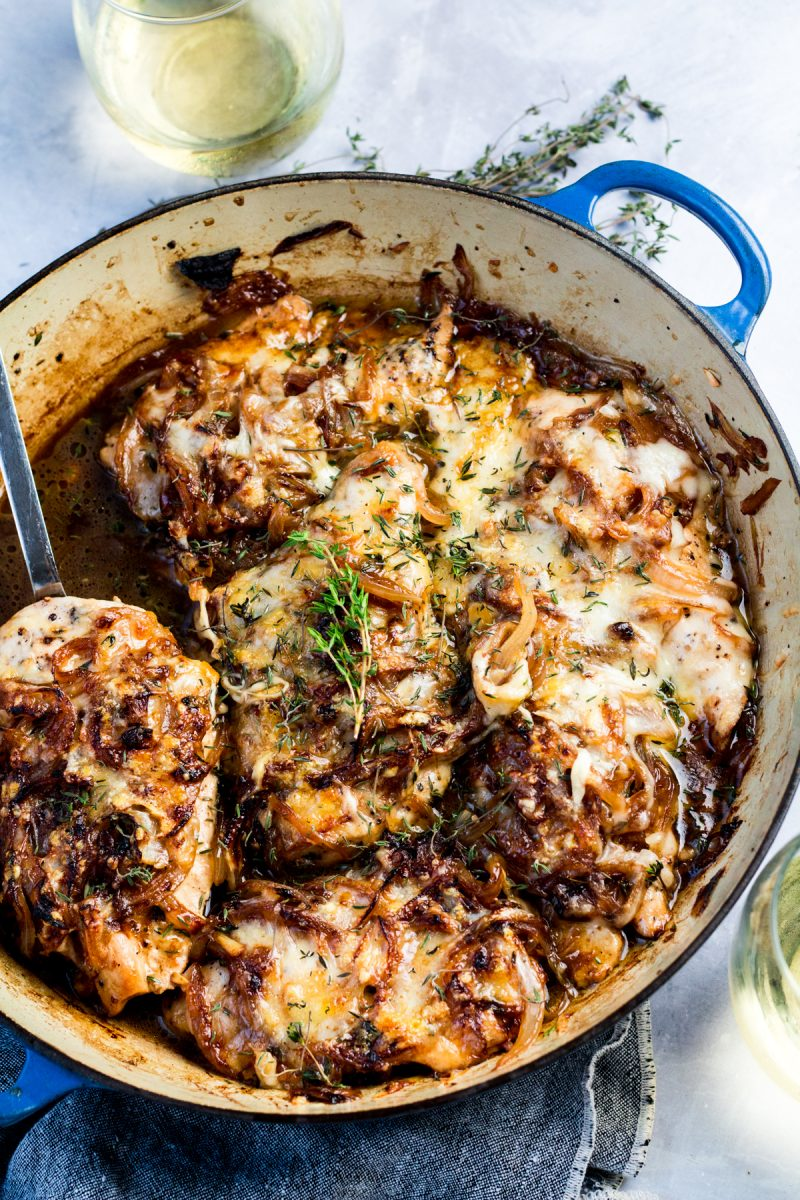 A savory and insanely indulgent chicken skillet dish! This French onion chicken is an elegant dish for any night of the week!