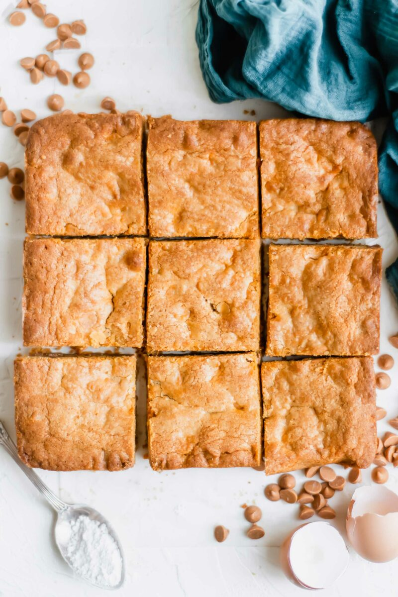 A blondie brownie has been sliced into nine even pieces.