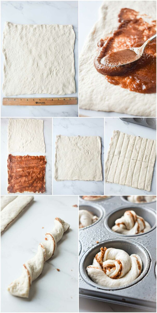 Several imaged depict the step by step process for baking cinnamon muffins.
