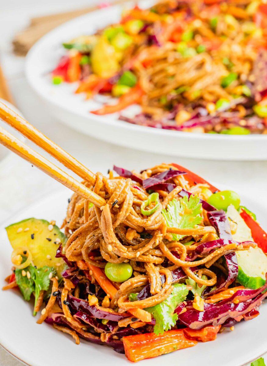 Wooden chopsticks are twirling a bite of soba noodles.