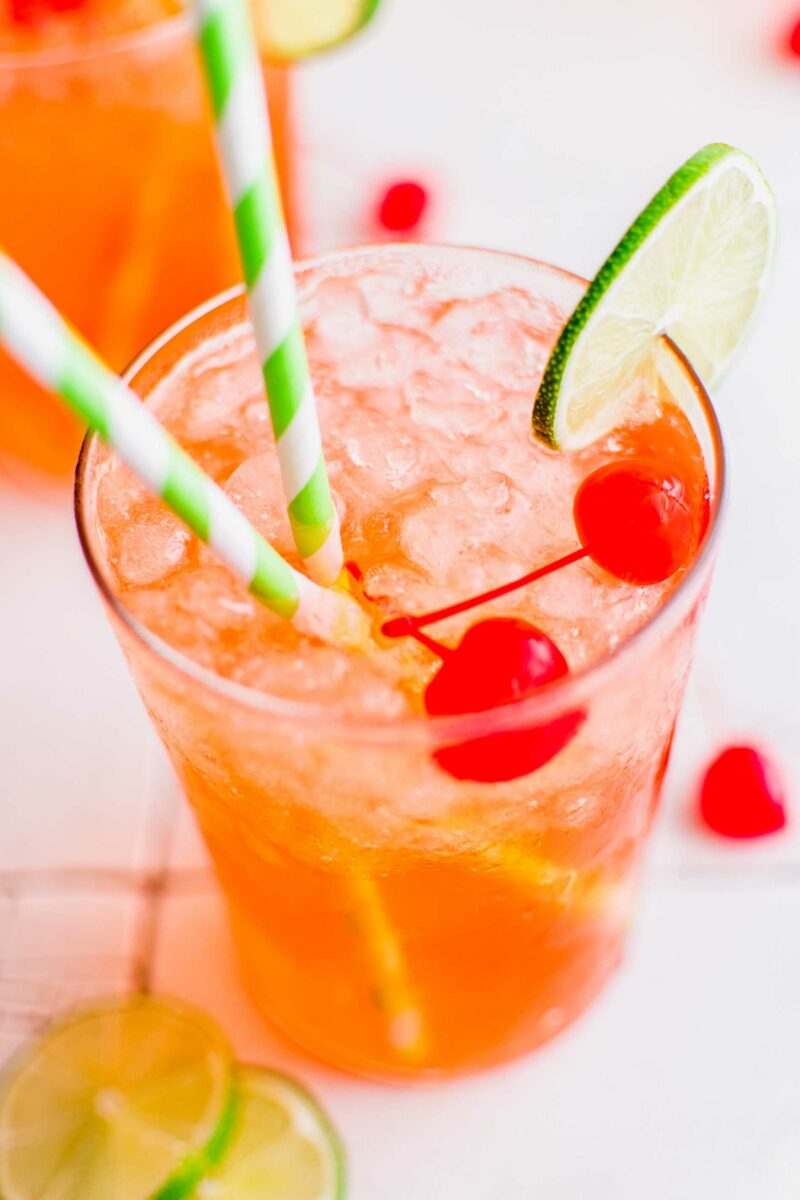 Two straws are placed in an icy glass of diet soda.