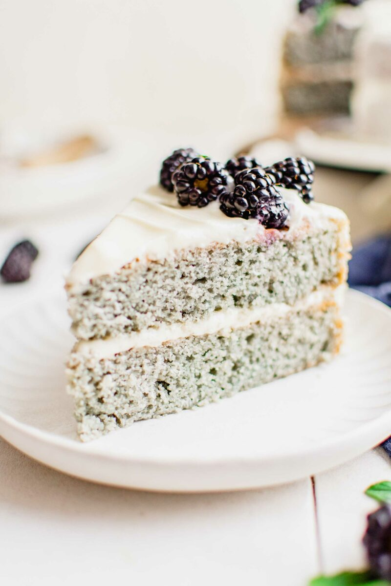 A layered blackberry cake is presented on a clean white plate.